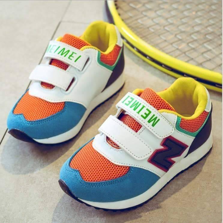 รองเท้าผ้าใบ สีส้ม-ฟ้า ตัว N