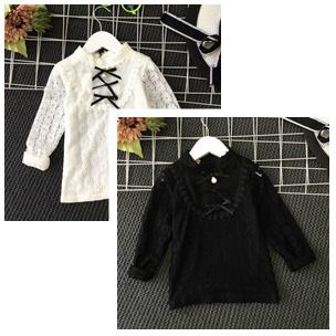 เสื้อเด็ก : เสื้อแขนยาว คอผูก สีขาว,สีดำ