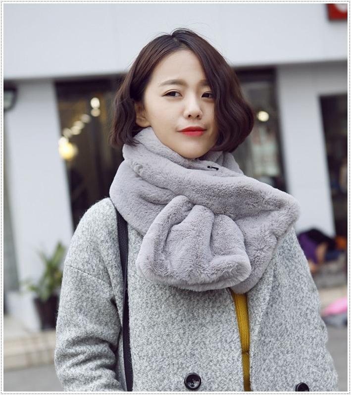 ผ้าพันคอขนเฟอร์ ผ้าผสมขนสัตว์ Fur Wool scarf มี 7 สี