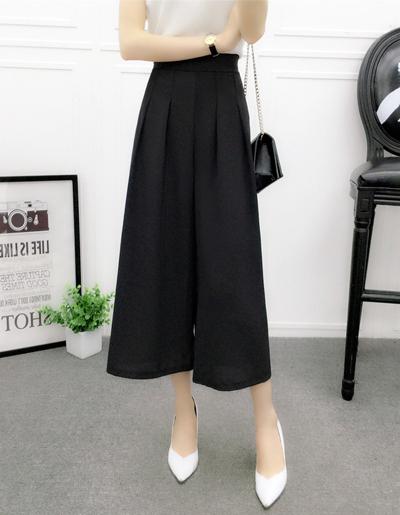 กางเกงแฟชั่น 5 ส่วนเอวยางยืดขาบานพริ้วสวยหวานสไตล์เกาหลี-1657-สีดำ