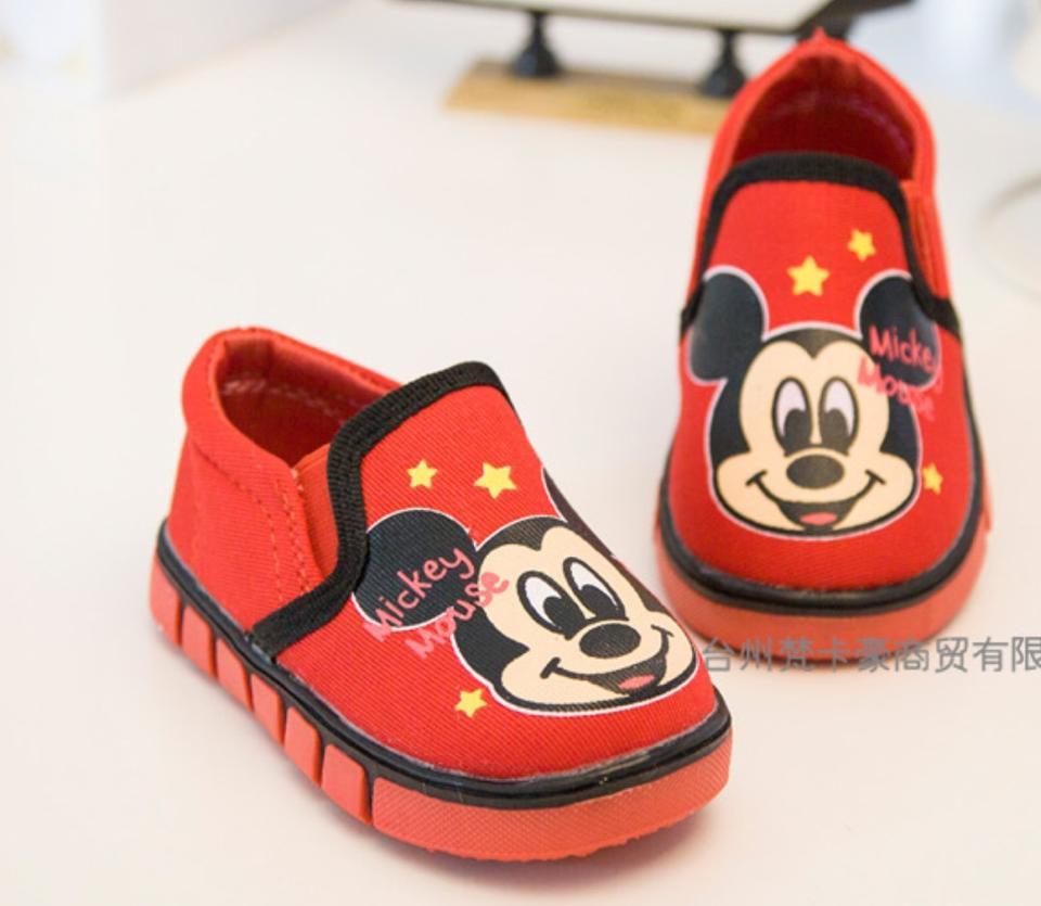 รองเท้าแคนวาส มิ๊กกี้เมาส์สีแดง