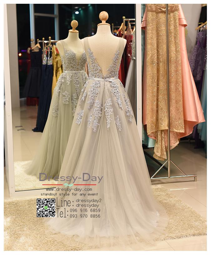 รหัส ชุดไปงานแต่ง :PF074 ชุดราตรียาว แขนกุด สีเทา สวย สง่า ดูดีแบบเจ้าหญิง ใส่ไปงานแต่งงาน งานกาล่าดินเนอร์ งานเลี้ยง งานพรอม งานรับกระบี่