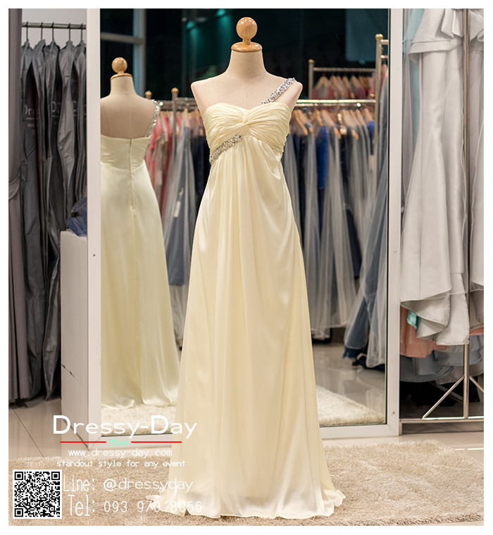รหัส ชุดไปงานแต่งงาน :PF063 ชุดราตรียาว ไหล่เดี่ยว สีครีม ใส่แล้วสวยหรูแต่แอบเซ็กซี่เบาๆ ใส่ออกงานกลางคืน ไปงานแต่งงาน งานเลี้ยง งานรับรางวัล งานบายเนียร์ งานพรอม งานกาล่าดินเนอร์ งานเดินพรหมแดง หรือชุดเพื่อนเจ้าสาว สวยปังมาก