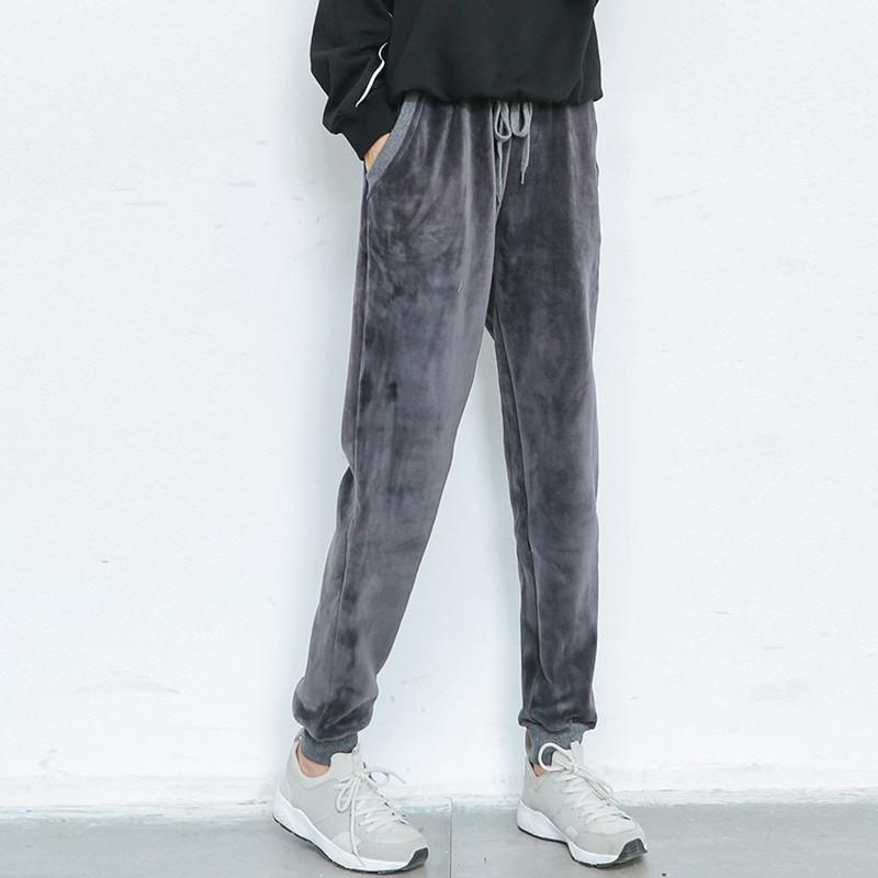 กางเกงฮาเร็มกำมะหยี่กันหนาว บุขนแคชเมียร์ มี 2 สี