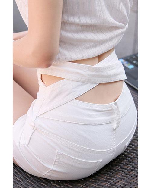 กางเกงยีนส์ ผ้ารัดรูป ดีไซน์เก๋ ช่วงเอวสายไข้วด้านหลัง-สีขาว