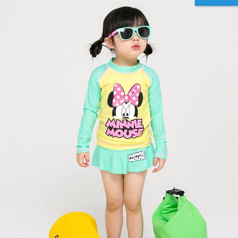 ชุดว่ายน้ำเด็ก : ชุดเซ็ตว่ายน้ำ แขนยาวโดซี่ สีเขีย +กางเกงกระโปรง