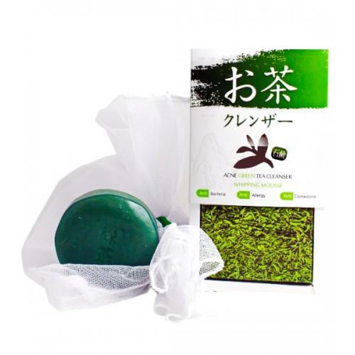 สบู่ชาเขียวล้างหน้า รักษาสิวหายตายหมดเกลี้ยง Acne Green Tea Cleanser Whipping Mousse
