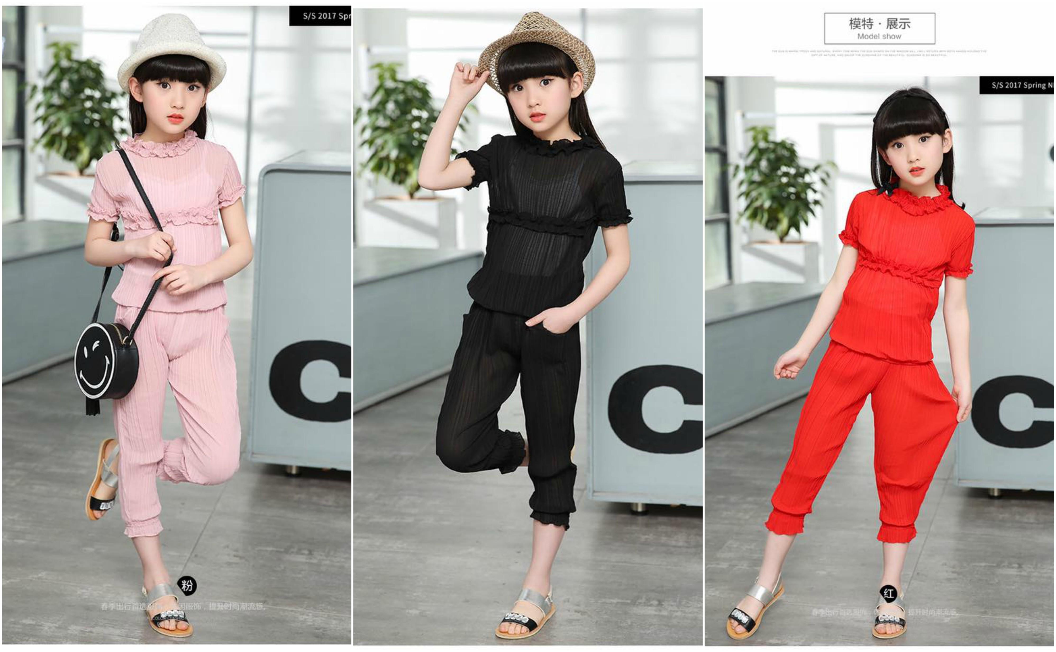 ชุดเด็ก : ชุดเซ็ตชีฟอง+กางเกงสามส่วน สีแดง,สีดำ,สีชมพู