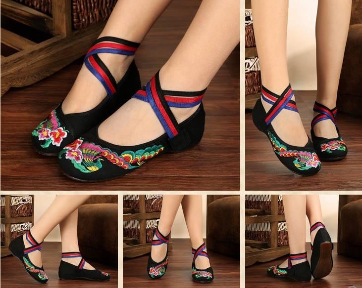 รองเท้าจีน สีดำ ผูกไขว้ แบบ M