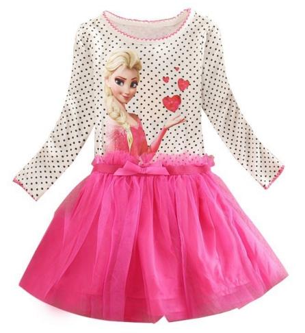 ชุดเด็ก : ชุดเด็ก : เดรส Frozen แขนยาว สีขาวจุด กระโปรง สีชมพู