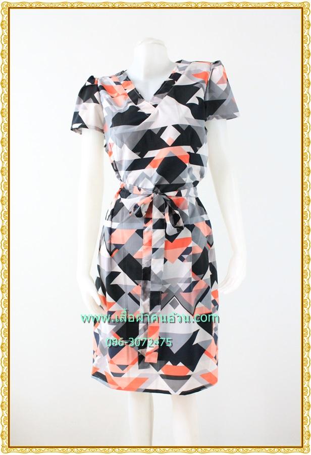 3139ชุดทํางาน เสื้อผ้าคนอ้วนคอวีสีส้มคอวีลายแขนฟิลิปปินส์แต่งโบด้านหน้า สไตล์ล้ำคลาสสิคสุภาพเป็นทางการอย่างโดดเด่นงานละเอียดด้วยซับใน