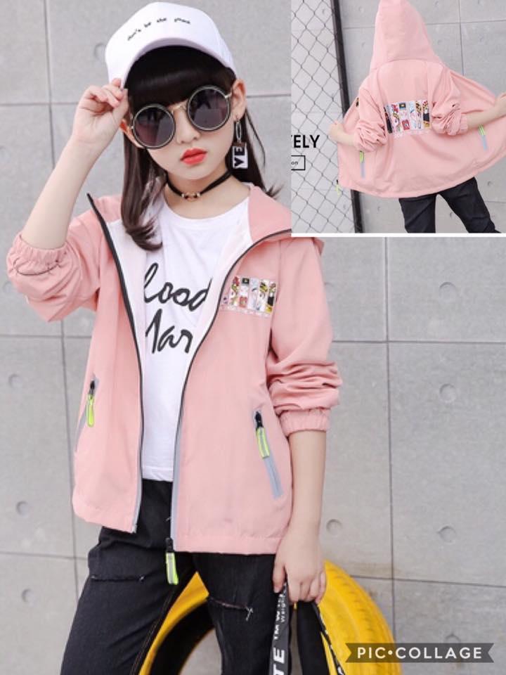 เสื้อแจ๊คเก็ตมีฮูด สีชมพู