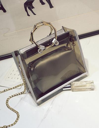 กระเป๋าแฟชั่นทรงเหลี่ยมสวยหรูสไตล์เกาหลี รหัส B025-สีน้ำตาล