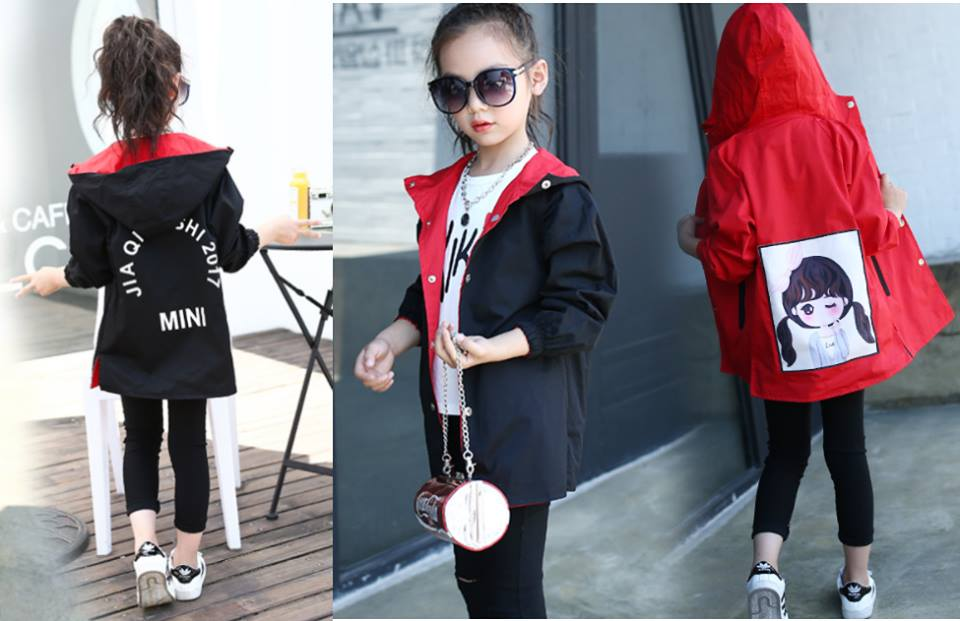 เสื้อแจ็คเก็ตมีฮูด สีดำ-แดง