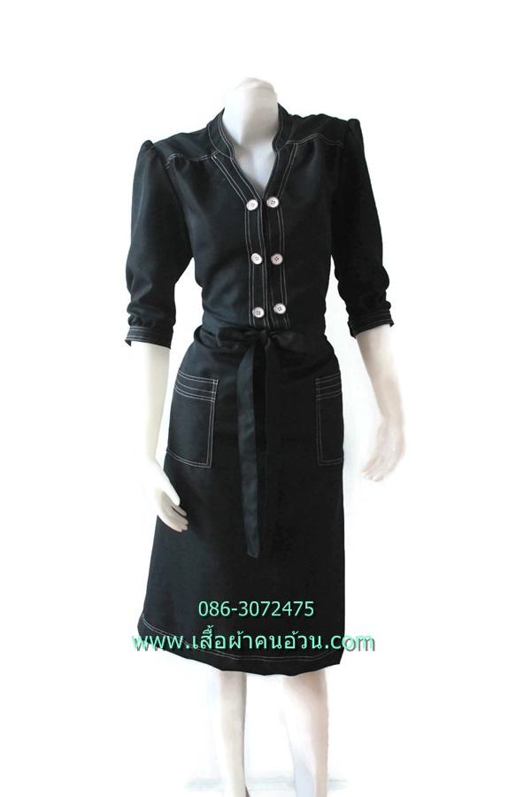 3233ชุดแซกทำงาน เสื้อผ้าคนอ้วนสีดำแขนครึ่งศอกคอจีนกระดุมคู่เดินเส้นขาวตัดลายดีไซน์ทรงสปอร์ตชุดดำ