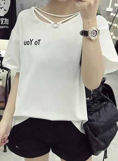 เสื้อครอปแฟชั่นสกรีนหน้าอกขวาTo youแต่งสายห้อยคอน่ารักสไตล์เกาหลี-1604