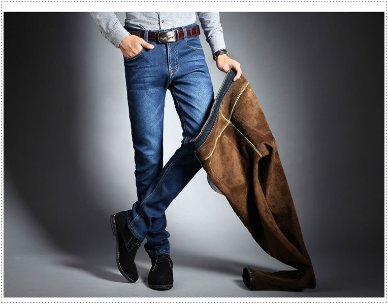 กางเกงยีนส์กันหนาว ผู้ชาย บุขนแกะ กันหนาว มี 2 สี