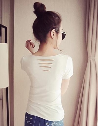 เสื้อยืดแฟชั่นแขนสั้น ไม่เย็บขอบ ดีเทลแต่งขาดๆ-1511-สีขาว