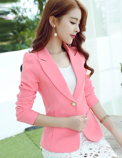 เสื้อสูทผู้หญิงสีชมพูใส่ทำงาน สไตล์เรียบหรู 5 size S/M/L/XL/XXL รหัส 1649