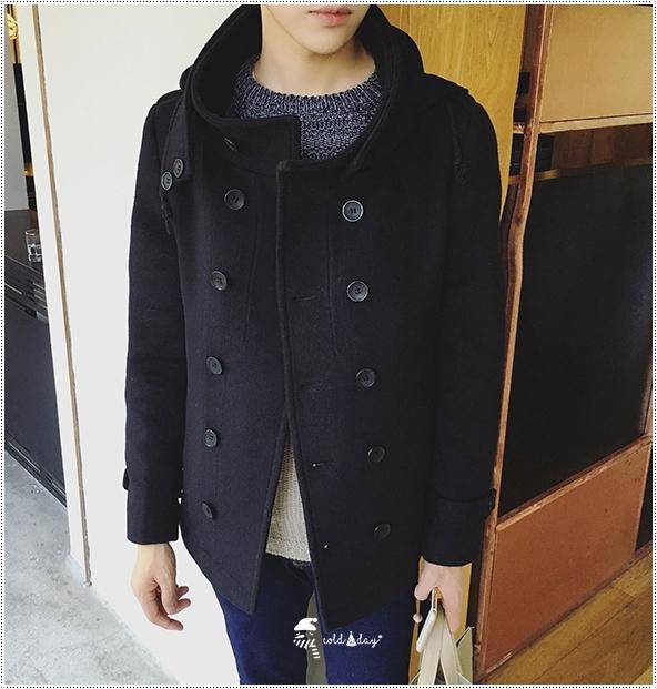 เสื้อโค้ทชายเกาหลี คอตั้ง มีฮู๊ด