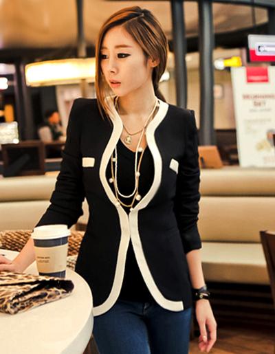 เสื้อสูทแฟชั่นผู้หญิงสีดำ ใส่ทำงานสไตล์เรียบหรูไม่มีปก-1631-สีดำ