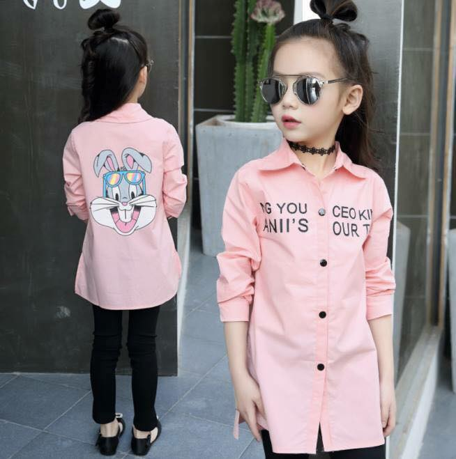 ชุดเด็ก : เสื้อแขนยาวลายกระต่าย สีชมพู