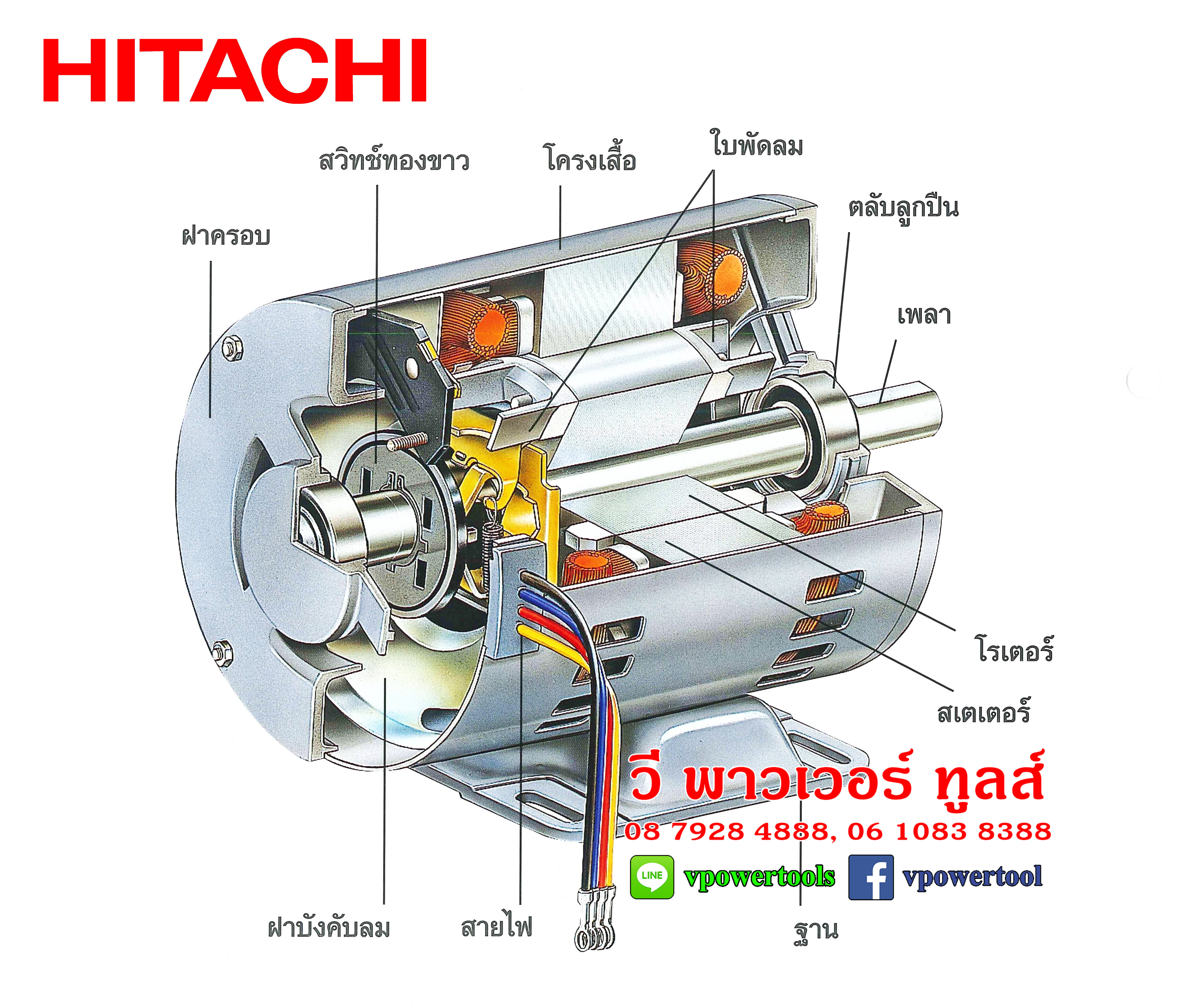 HITACHI มอเตอร์ไฟฟ้า ฮิตาชิ 1เฟส (220V.)