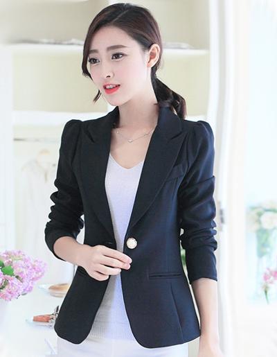 เสื้อสูทผู้หญิงใส่ทำงานไหล่ตุ๊กตาเข้ารูป สไตล์เรียบหรู-1632-(มี 5 ไซส์ S/M/L/XL/XXL)