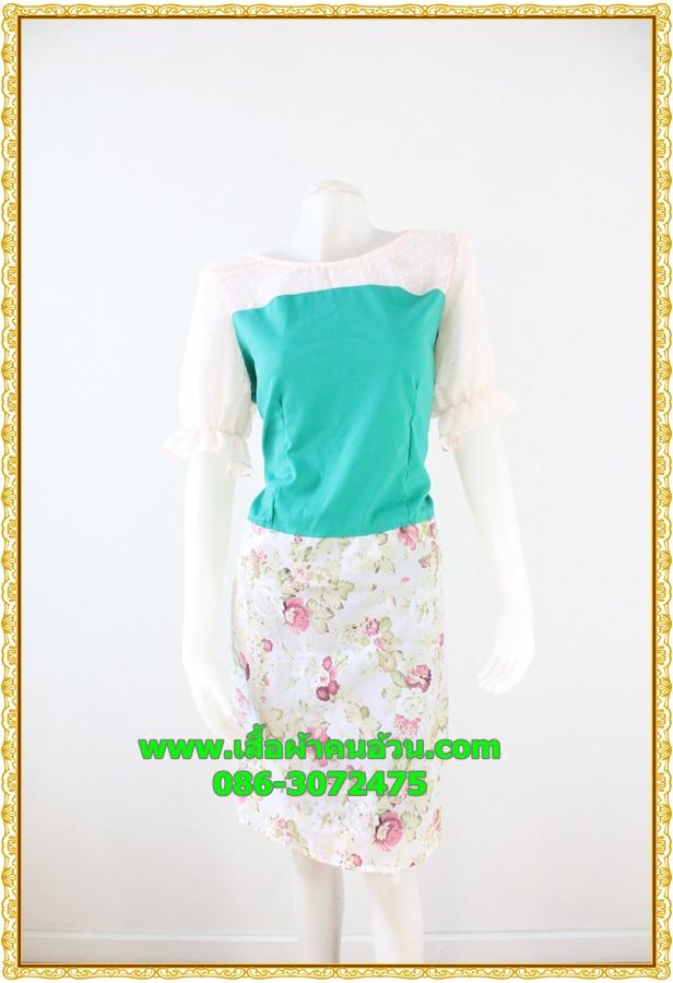 3033ชุดเดรสทำงาน เสื้อผ้าคนอ้วน ผ้าชีฟองลายดอกเสื้อเขียวแต่งอกขาวด้วยผ้าบางโชว์หรูต้นแขนและอก