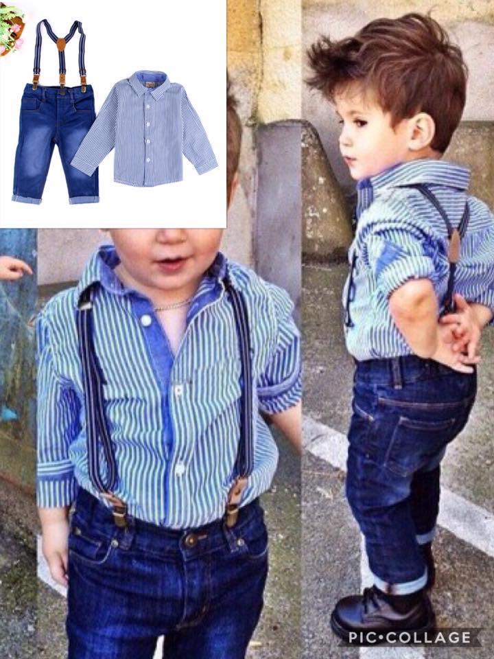 ชุดเซ็ตเสื้อเชิ๊ตแขนยาวสีฟ้าลาย+กางเกง