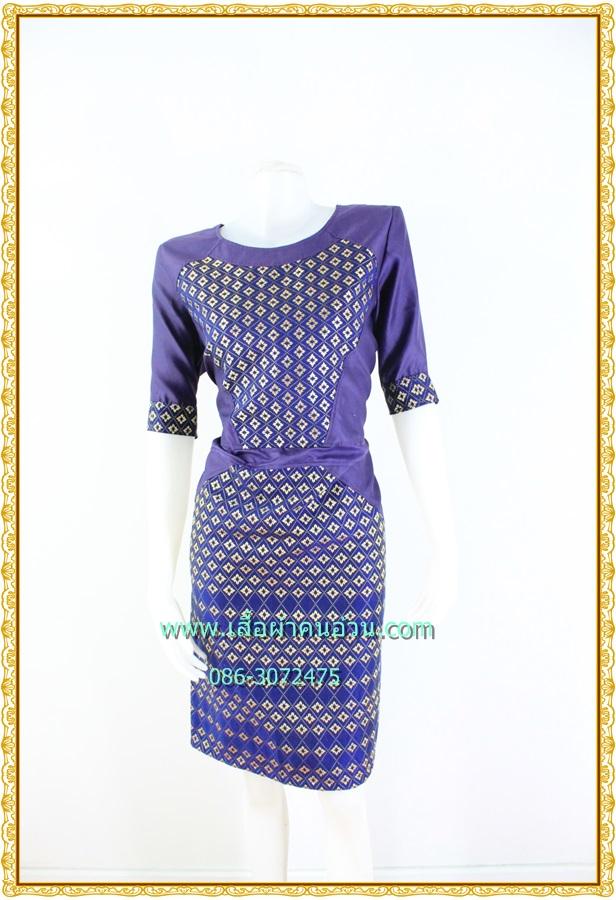 3185เสื้อผ้าคนอ้วนผ้าไทยสีม่วงคอกลมแขนยาวแต่งลายสลับพื้นปรับสรีระเพิ่มส่วนเว้าโค้งเติมความมั่นใจ สไตล์หรูหรา สง่างาม