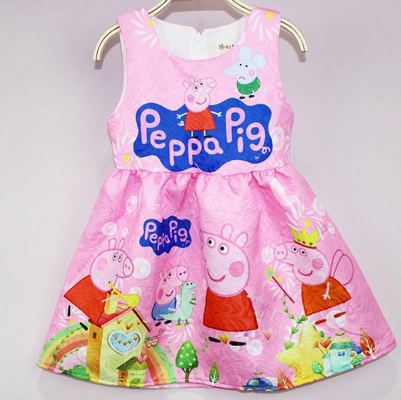 ชุดเด็ก : เดรสแขนกุด Peppapig สีชมพู ผ้าพิมพ์ลายในตัว แบบ B
