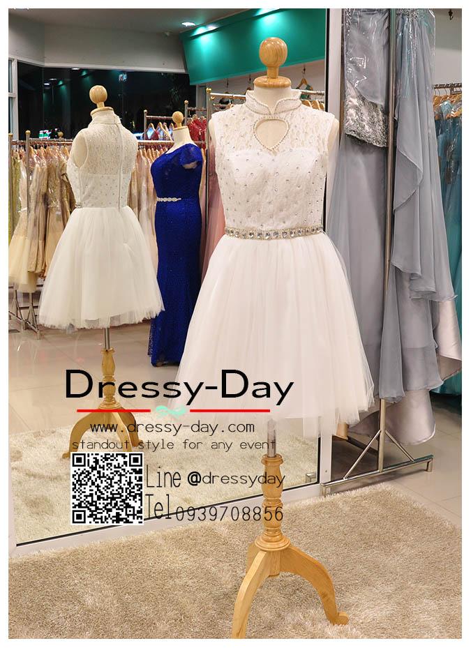 รหัส ชุดราตรี : JE019 เดรสออกงานสีขาว ชุดราตรีสั้นตกแต่งคริสตัล ชุดออกงานลูกไม้งานสวย ชุดไปงานแต่งงาน เหมาาะใส่งานแต่งงาน งานหมั้น งานกลางวัน กลางคืน ชุดถ่ายพรีเวดดิ้งใส่ถ่ายพรีเวดดิ้งแนวเจ้าหญิ สำเนา