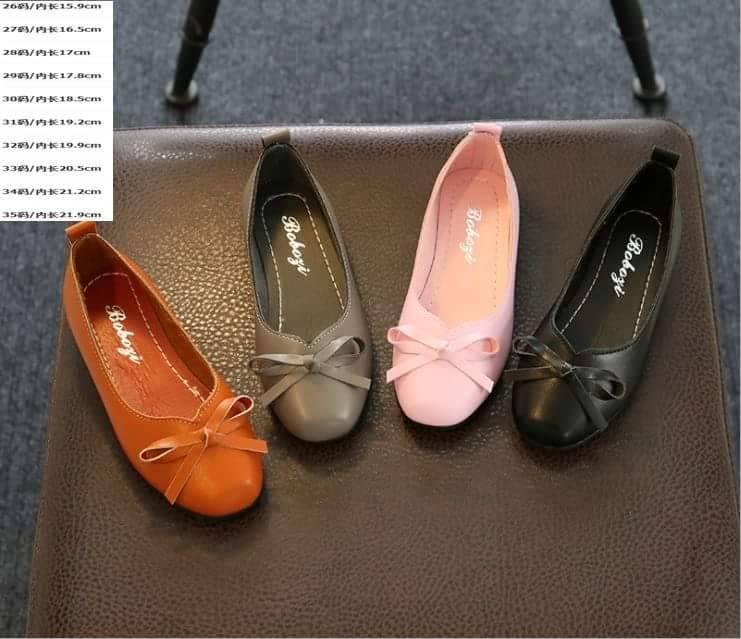 รองเท้าคัชชูหนัง สีน้ำตาล-สีชมพู