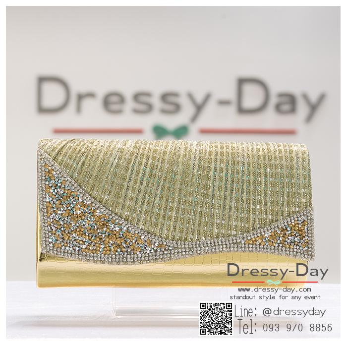 กระเป๋าออกงาน TE072 : กระเป๋าออกงานพร้อมส่ง สีทอง ดีเทลเพชร สุดหรู ราคาถูกกว่าห้าง ถือออกงาน หรือ สะพายออกงาน สวย หรู ดูดีเริ่ดมากค่ะ สำเนา