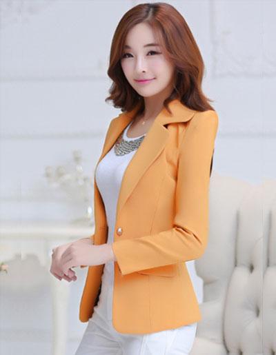 เสื้อสูทผู้หญิงแฟชั่นสีส้ม สไตล์สวยหวาน มี 5 ไซส S/M/L/XL/2XL รหัส 1766