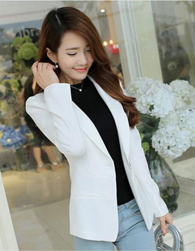 เสื้อสูทผู้หญิงแฟชั่นสีขาว แบบสวยหวานสไตล์เกาหลี 5 ไซส S/M/L/XL/2XL รหัส 1853