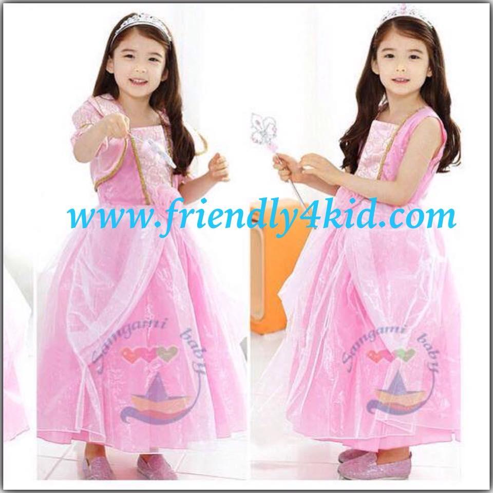ชุดเด็ก : เดรสเจ้าหญิงสีชมพู+เสื้อคลุม