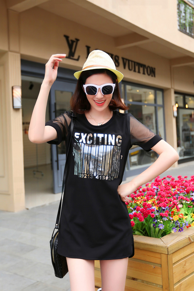 เสื้อแฟชั่นกึ่งเดรส EXCITING Barcodeแต่งแขนซีทรู ใส่เที่ยวเก๋ไก๋-1353-สีดำ