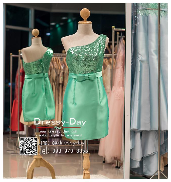 รหัส ชุดราตรีสั้น : PFS018 ชุดราตรีสั้นผ้าไหม สีเขียว แบบไหล่เดี่ยว ผ้ากลิตเตอร์ สวยหรูดูดีสุดๆ ใส่ไปงานหมั้นเช้า ออกงานกลางวัน งานแต่งงานกลางคืน งานเลี้ยง งานประกวด งานรับปริญญา งานรับรางวัล ชุดพิธีกร ชุดถ่ายพรีเวดดิ้ง