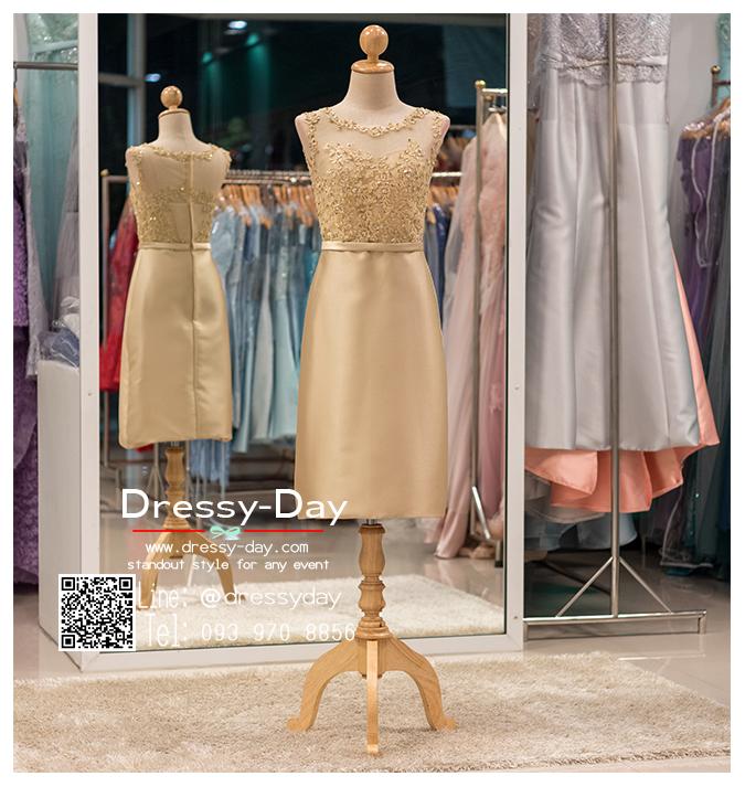 รหัส ชุดราตรี : PFS039 ชุดแซกผ้าลูกไม้งานสวยตกแต่งกริตเตอร์ ชุดราตรีสั้นหรูสีทอง สวย สง่า ดูดีแบบเจ้าหญิง ใส่เป็นชุดไปงานแต่งงาน งานกาล่าดินเนอร์ งานเลี้ยง งานพรอม งานรับกระบี่