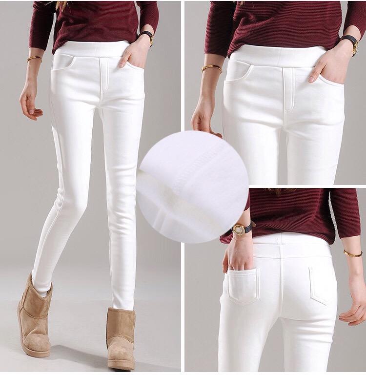 กางเกงสกินนี่วูล สีขาว บุขนแกะเนื้อนิ่ม กางเกงฤดูหนาว ใส่ไปเที่ยวต่างประเทศ Skinny Wool ปลีก 620 / ส่ง 590