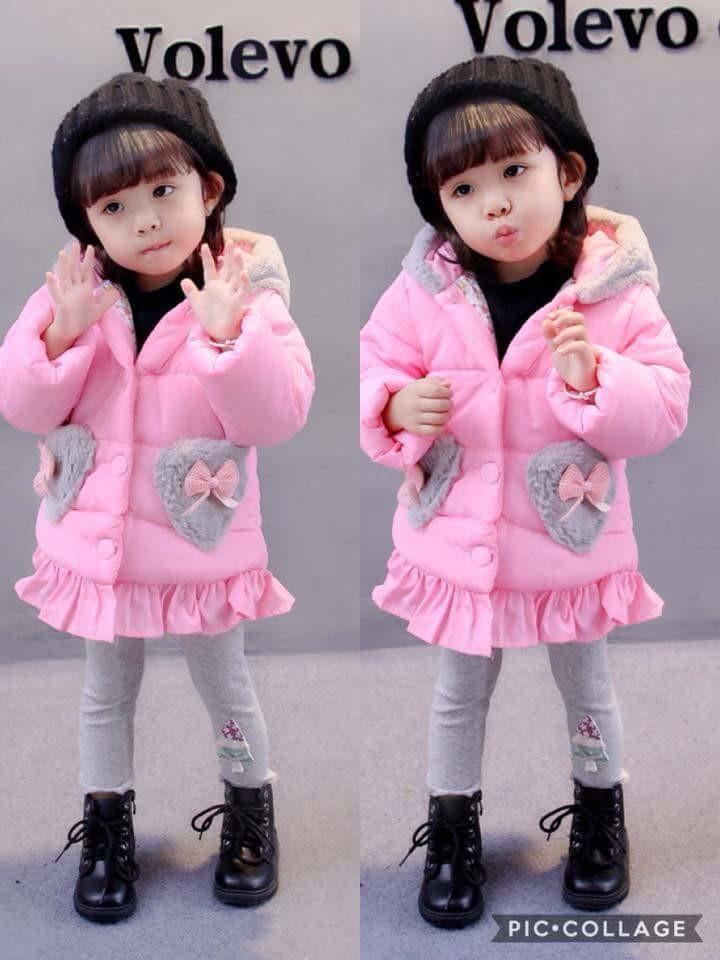 เสื้อกันหนาว : เสื้อกันหนาวบุนวม สีชมพู
