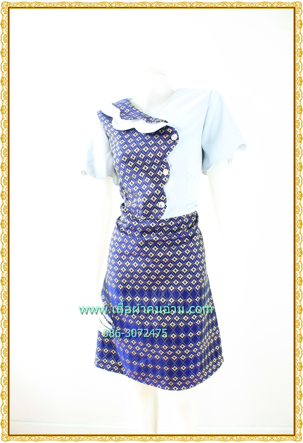 3189ชุดคนอ้วนผ้าไทยแต่งพื้นปกหยักสะดุดตาเพิ่มความโดดเด่นสวมใสออกงานสไตล์หวานคลาสสิค
