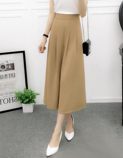 กางเกงแฟชั่น 5 ส่วนเอวยางยืดขาบานพริ้วสวยหวานสไตล์เกาหลี-1657-สีกากี