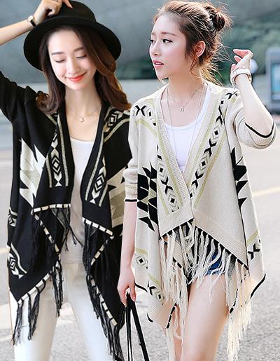 เสื้อคลุมแฟชั่นสวยเก่สไตล์สาวโบฮีเมี่ยน มี 2 สี รหัส 1172