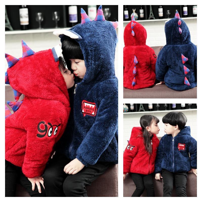 เสื้อกันหนาว ไดโนเสาขนนุ่ม มีฮูด สีแดง+กรม