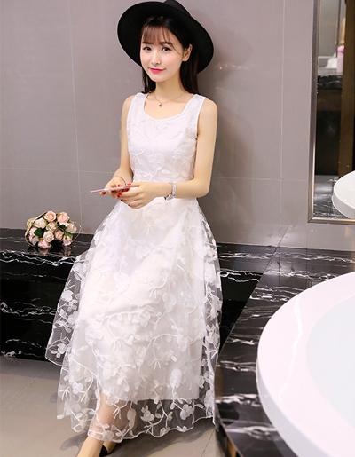ชุดเดรสแฟชั่นผู้หญิงสีขาวแขนกุดสวย หวานสไตล์เกาหลี รหัส 1593-มี 2 ไซส์ M,L