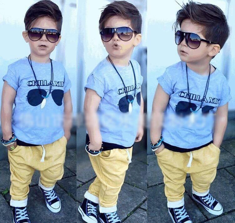 ชุดเซ็ตเสื้อสีฟ้า+กางเกงสีเหลือง