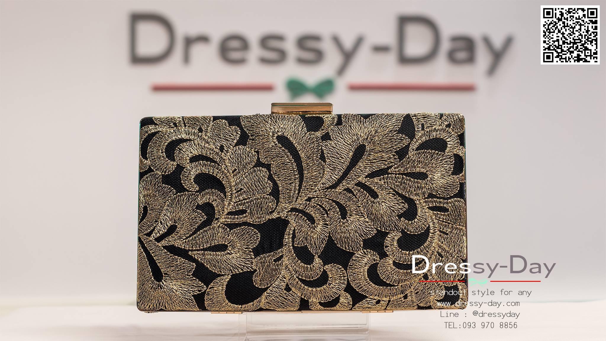 กระเป๋าออกงาน TE034: กระเป๋าออกงานพร้อมส่ง สีดำปักด้ายทองใบใหญ่ สวยเรียบหรู ราคาถูกกว่าห้าง ถือออกงาน หรือ สะพายออกงาน สวยเหมือนดารา